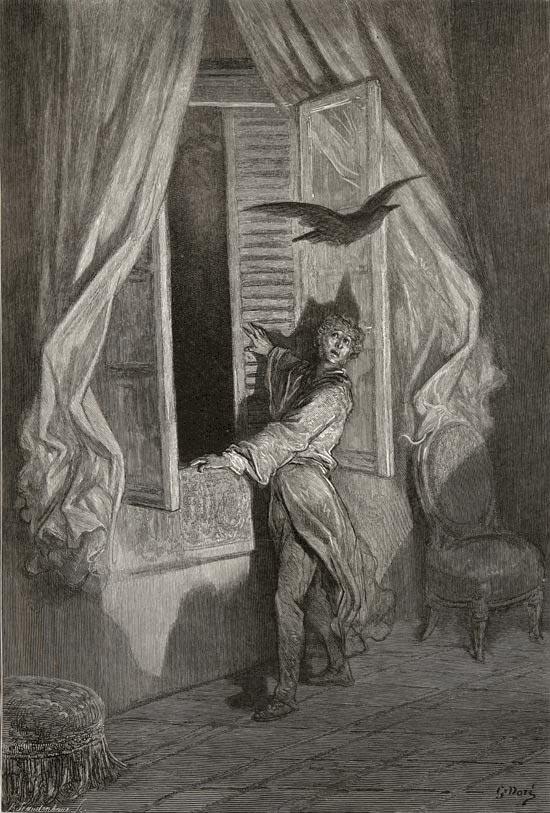 Gustave Dor    Illustration of  The Raven  by Edgar Allan Poe  published