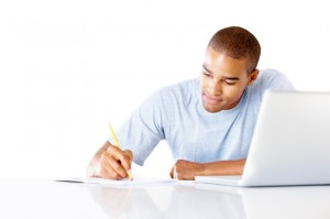 male studying computer