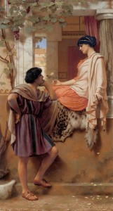 Godward_The_Old_Old_Story_1903 love romance WC pd