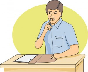 High School student at desk